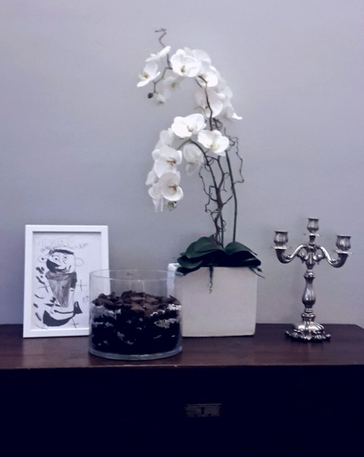 baule antico con candelabro in argento e  orchidea #lifestyle #herbalife #fiori #orchidea #quadro #disegno #vaso #candelabro #argento #baule