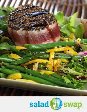 Instead of a Tuna Salad Sandwich try this Peppercorn-Crusted Ahi Tuna with Green Beans, Mango and Balsamic Reduction. You will save over 250 calories by making the swap! #lent #saladswap #FreshExpress #seafood
