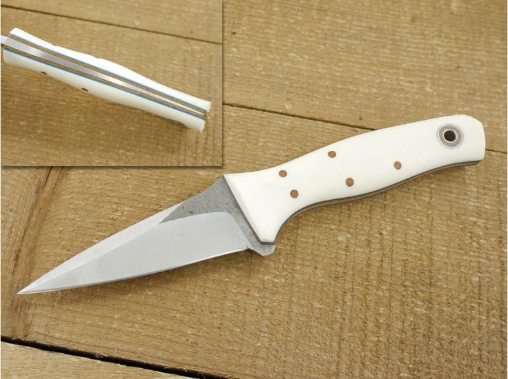 Fiddleback Forge (Andy Roy) Custom Wasp Fixed Blade Knife, (Tapered Tang) w/ Bone Micarta Handle & Thick Natural & Thin Blue Liners - #1 $313.95
