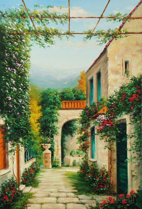 итальянский дворик цветы дворик