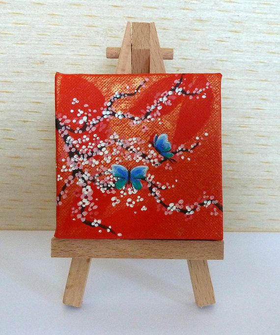Tiny Square Orange and Gold Canvas Pink Cherry by JewellsArtUK