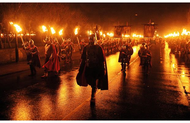 Up Helly Aa Festival in Lerwick, Shetland Islands - In celebration of its Norse/Viking heritage.  Would be cool to see this!
