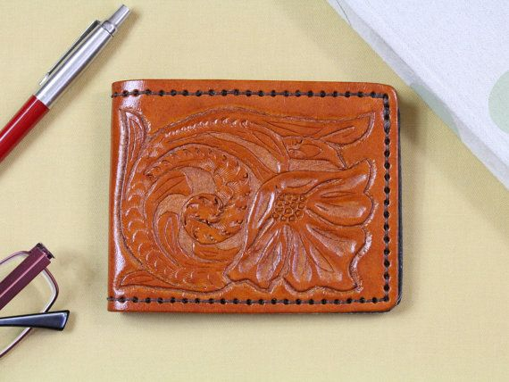 Floral Hand Carved Leather Credit Card by TinasLeatherCrafts. Repin To Remember.