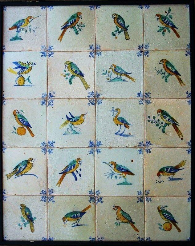 20 Antique 1640 Dutch Delft Delftware Polychrome Bird Tiles Carreau Ext RARE | eBay