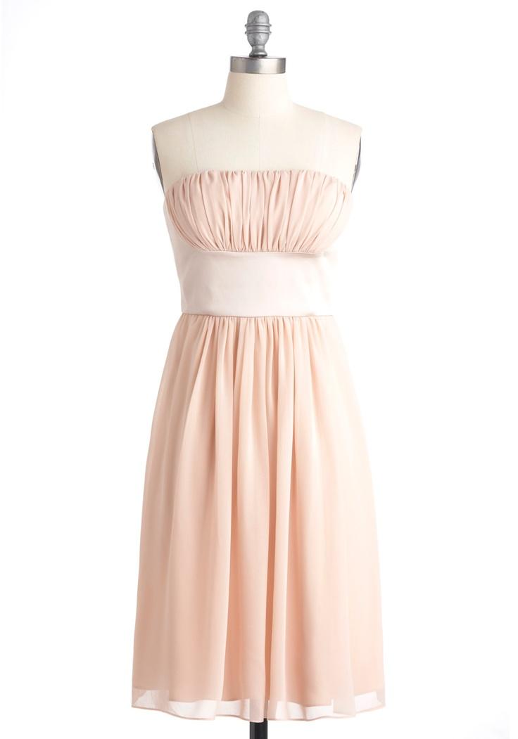 Pale blush chiffon bridesmaid dress.Homecoming Dresses, Style, Closets, Champagne Bridesmaid Dresses, Beautiful Dresses, Beauty, Chiffon Bridesmaid Dresses, Modcloth Com, True Beautiful