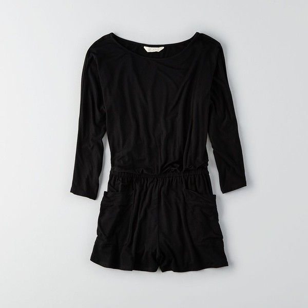 AE Soft & Sexy Romper ($20) ❤ liked on Polyvore featuring jumpsuits, rompers, black, long-sleeve romper, sexy rompers, long-sleeve rompers, playsuit romper and sexy long sleeve rompers