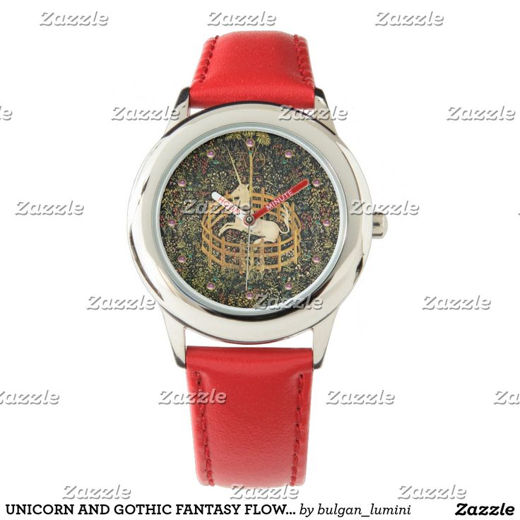 UNICORN AND GOTHIC FANTASY FLOWERS,FLORAL MOTIFS WATCHES #green #watches #beauty #nature #horses #fashion #unicorns
