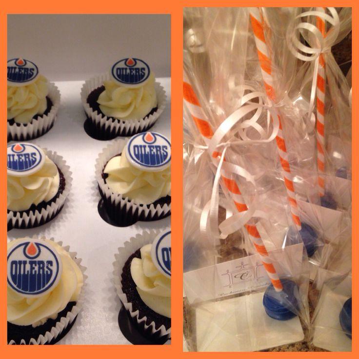 Edmonton oilers cupcakes and loot bags
