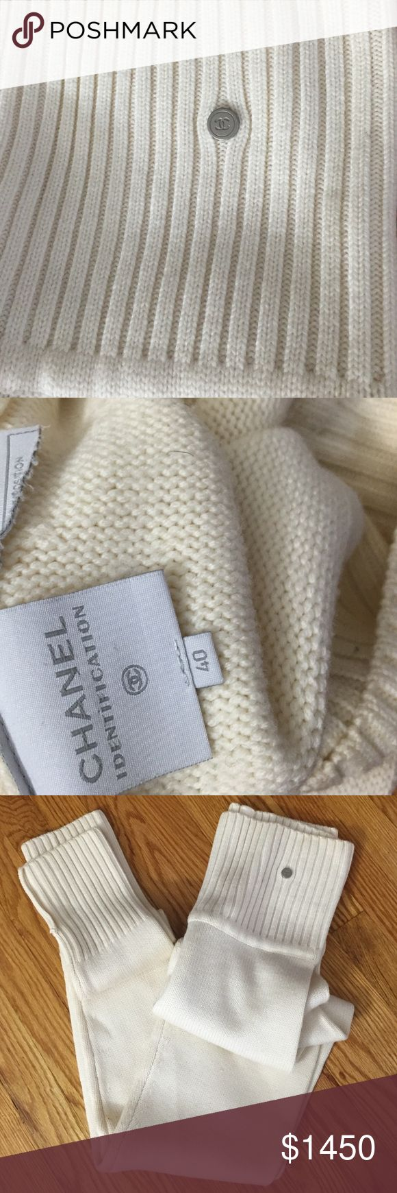 CHANEL SWEATER LEGGINGS Authentic Chanel Sweater pants(leggings)/ Rare Find/Vintage 1990s/ Cream Colored/ Versatile waistline(can be worn high waisted or mid rise) / Great stretch/ MINT CONDITION/ CHANEL Pants Leggings