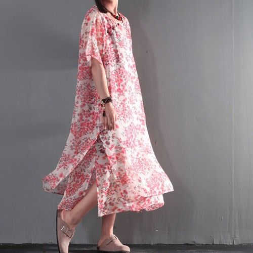 Pink floral print maxi dress summer double layered cool cotton sundress linen shift dressThis dress is made of cotton or linen fabric, soft and breathy, suitable for summer, so loose dresses to make you comfortable all the time.Measurement: One Size: length 116cm / 45.24