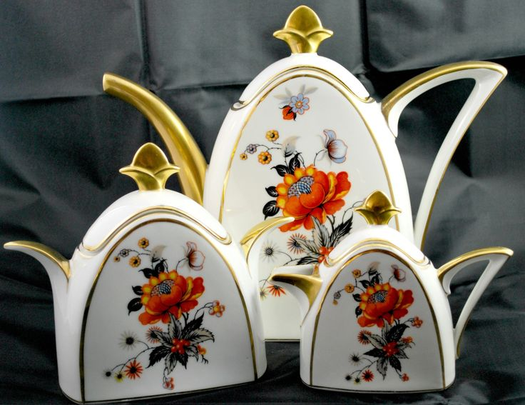 Limoges Tea Set Porcelain Art Deco Orange and Black Antique Set for Tea 1920 #vintage