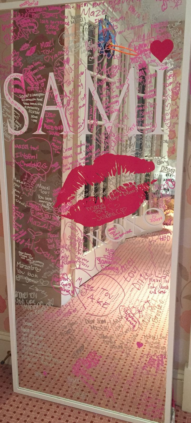 Made this sign in board for my daughters Bat Mitzvah. IKEA mirror, custom vinyl lettering and paint pens - an easy DIY idea.