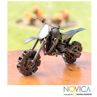 Recycled Auto Part 'Rustic Motocross Bike' Sculpture (Mexico)