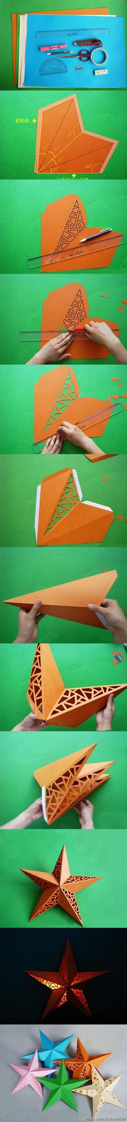 Nice tutorial Star Lantern #paper #lantern: Lamps, Paper Stars, Stars Lights, Crafts Ideas, Paper Lanterns, Stars Lanterns, Cut Outs, Paper Crafts, Christmas Stars