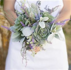 Garden 'Fresh' Succulent and Lavender Fillers Wedding Real Touch Silk Bouquet