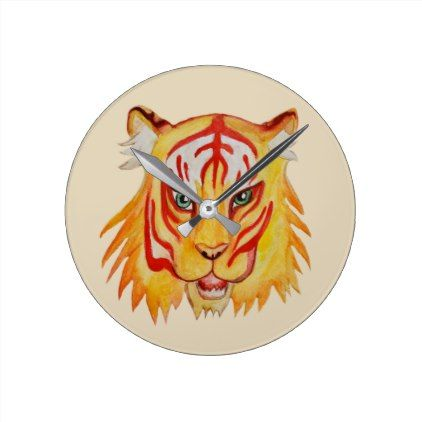 Tiger Face  Drawing  Round (Medium) Wall Clock - animal gift ideas animals and pets diy customize