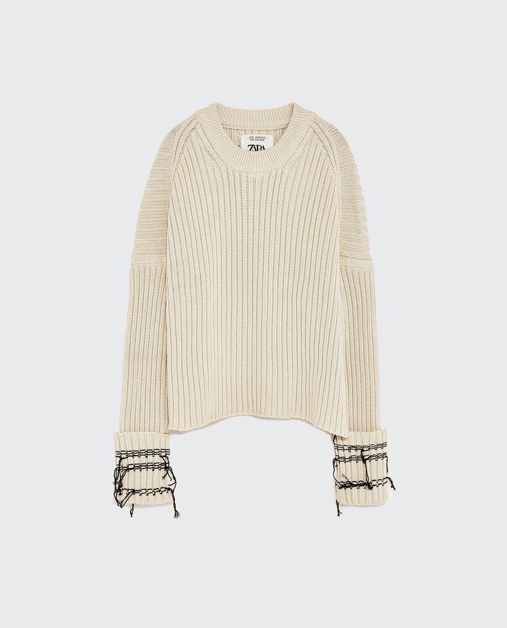 Image 1 of SWEATER WITH FRAYED CUFFS from Zara