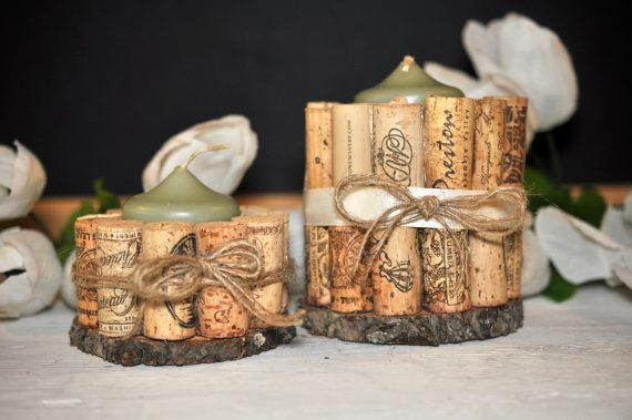 wine cork candle holder set candle holders by ReclaimedOregon