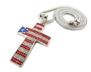 Collier couleur argent à pendentif en forme de croix aux couleurs du drapeau de Porto Rico, chaîne Franco l.4 mm L.91,4 cm XP567RS