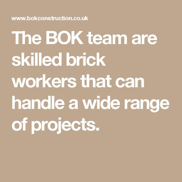 The BOK team are skilled brick workers that can handle a wide range of projects.