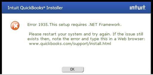 QuickBooks Error Code 1935. This setup requires .NET framework. https://quickbookscommunity.wordpress.com/