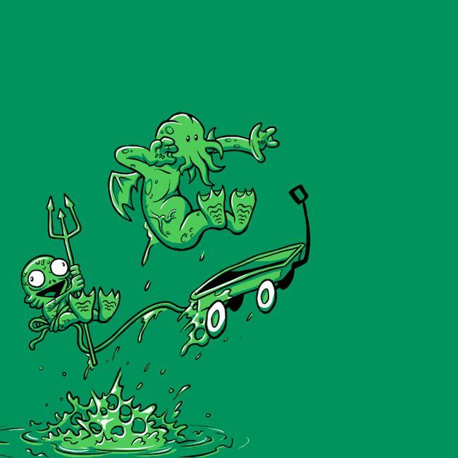 More Cthulhu mash-up with my childhood memories.  Not sure who drew this, but it is funny.