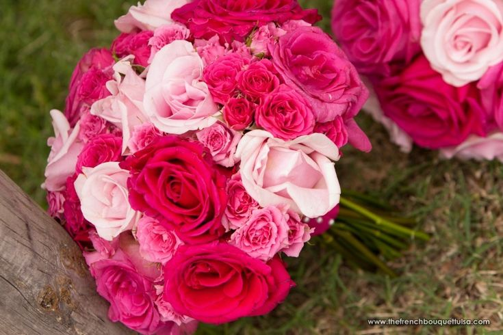 Hot and Light Pink Bridal Bouquet of Roses - The French Bouquet - Artworks Tulsa Photography