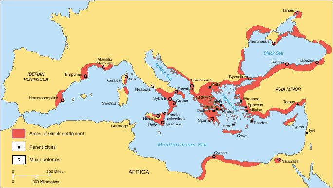 A map showing the Greek territories and colonies during the Archaic period.