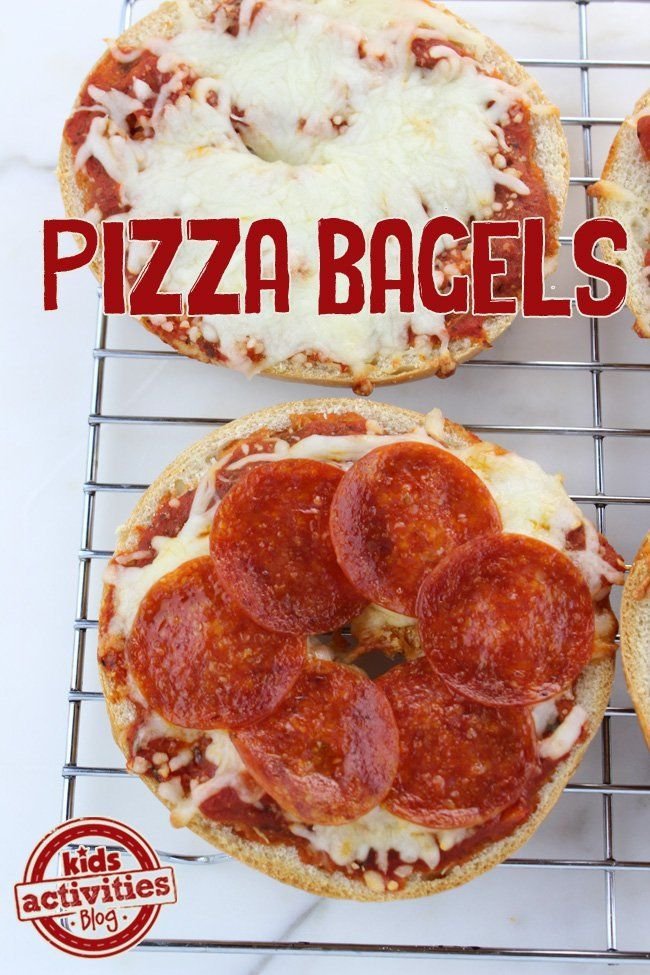 Easy Pizza Bagels. These yummy pizza bagels only require 4 ingredients and 10 minutes. They're especially fun because everyone can choose their own toppings for their personal pizza.