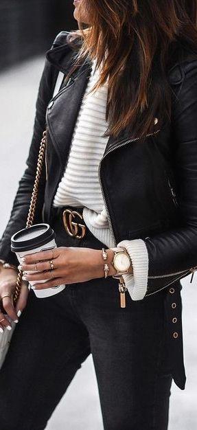black jeans + Gucci belt + cream sweater + leather jacket