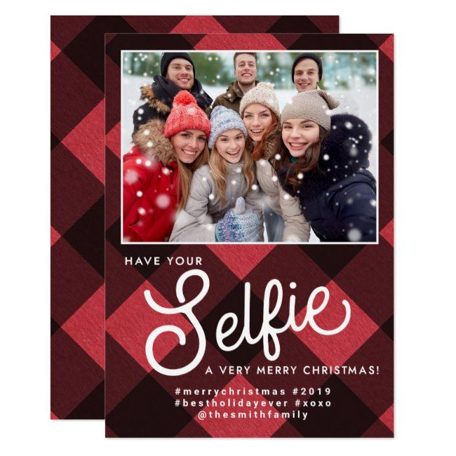 Selfie Christmas Card Selfie Holiday Card Selfie Invitation Zazzle Com Selfie Christmas Card Christmas Photoshoot Holiday Cards