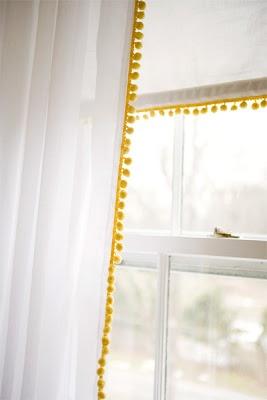 Voilage et galon pompons cortinas crianças