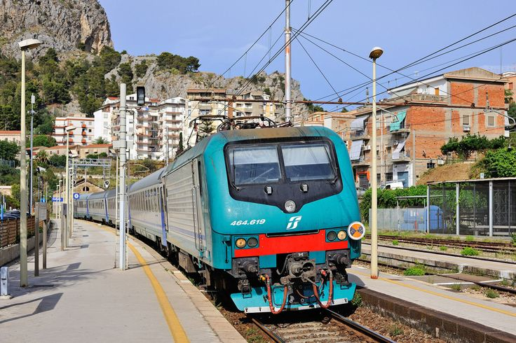 Bombardier Traxx Electric Locomotive, FS E464 619 in Cefalu Sicily, Italy