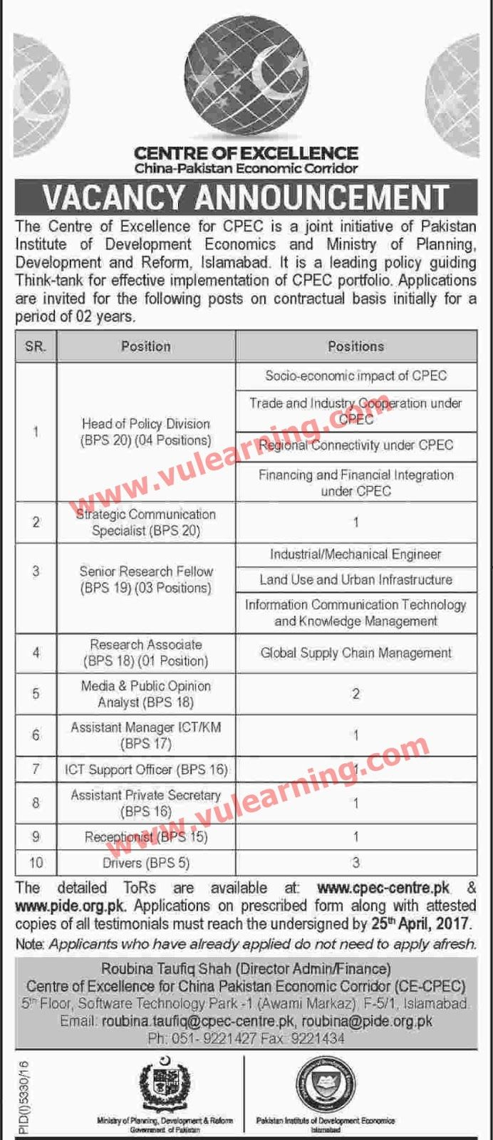 #  Title  Details  1  Jobs Location  Pakistan  2  Government / Private  Government  3  FPSC / PPSC / NTS / Others  Others  4  Published Date  09 Apr 2017 Sunday  5  Last Date to Apply  25 Apr 2017 Tuesday  6  Newspaper Name  Dawn  CPEC Jobs 2017 China Pak Economic Corridor Centre of Excellence Latest  Applications are invited for vacant posts in contractual basis initially for a period of two years againstCPEC Jobs 2017China Pak Economic Corridor Centre of Excellence Islamabad Latest. Center…