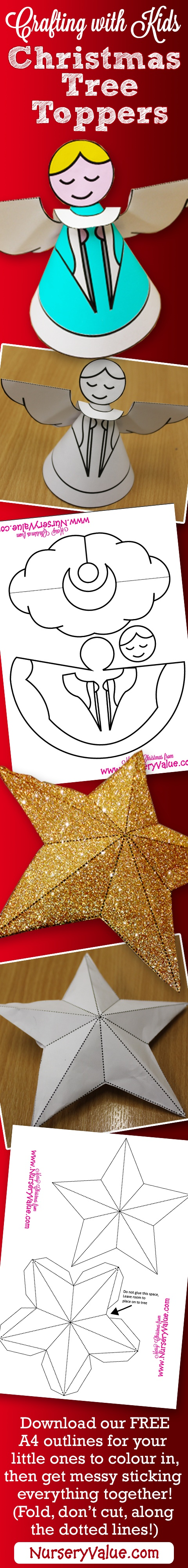 Crafting with Kids - Christmas Tree Angel and Star. Download our FREE A4 outlines for your little ones to colour in, then get messy sticking everything together!