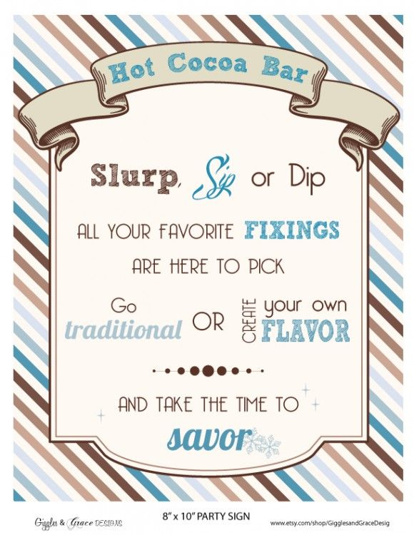 Christmas party free printable hot cocoa bar sign! See more free party printables at CatchMyParty.com.