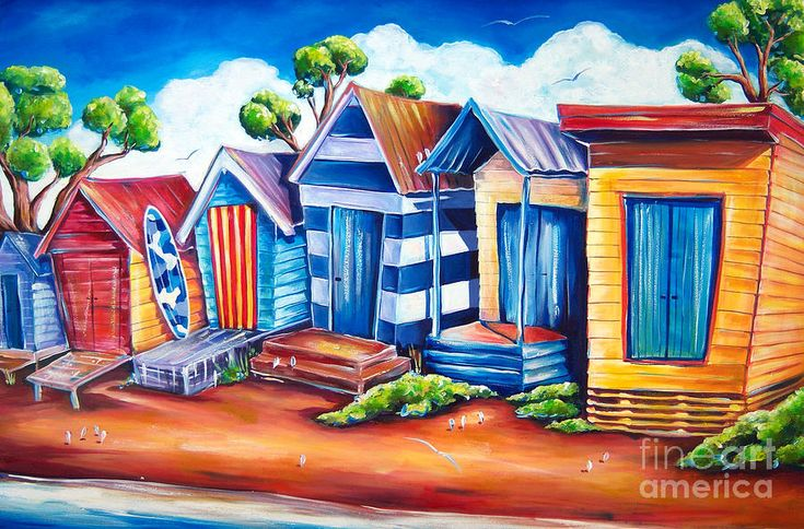 Bright Paintings | Beach Huts Painting by Deb Broughton - Victorian Beach Huts Fine Art ...
