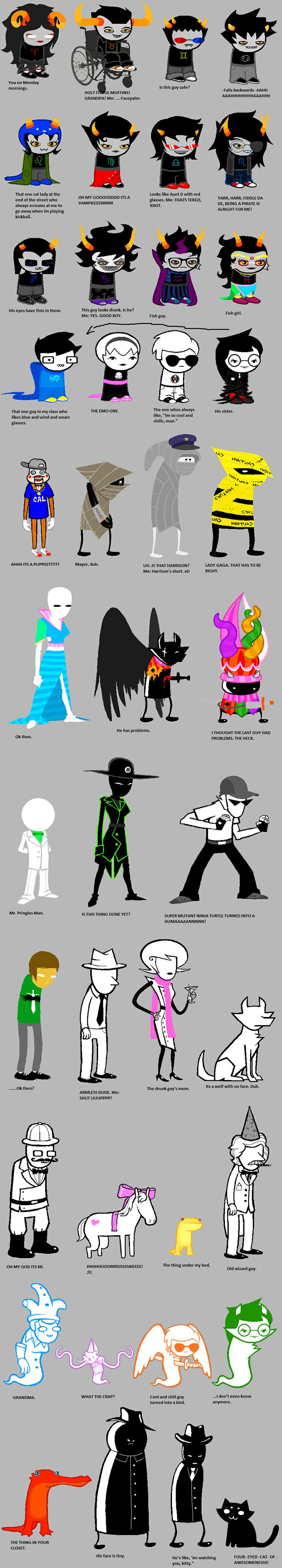 Homestuck according to non-Homestuck confused people LOL SO EPIC. I love how apparently Roxy is now Gamzee's mum. Because they look SO SIMILAR hahaha