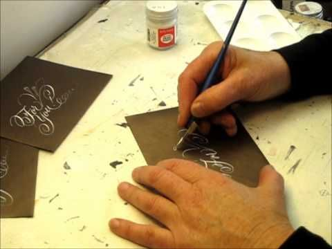 Writing wedding gift tags in copperplate