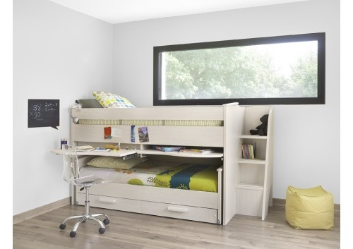 Gami Montana Bleached Ash Cabin Bed with Guest Bed and Storage Drawers
