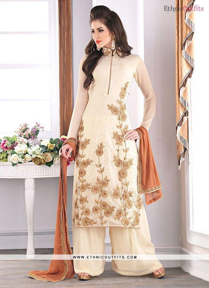 Enchanting Cream Designer Palazzo Salwar Kameez  Email - support@ethnicoutfits.com Call - +918140714515 Wnat's app/Viber- +918141377746