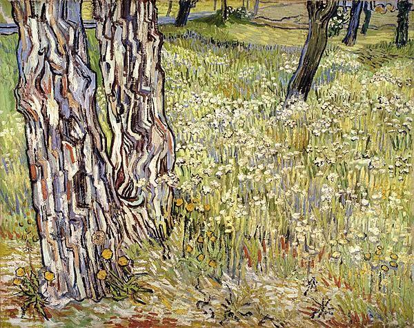 Vincent van Gogh (Dutch, Post-Impressionism, 1853-1890): Tree Trunks in the Grass (Boomstammen in het grass)