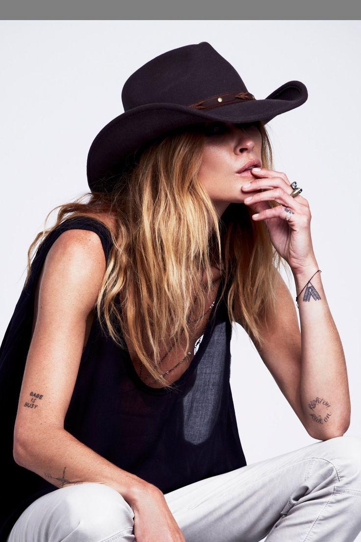 Chapeau de cowboy en feutre de sloane | Bonnet en laine avec bordures et bande en cuir tressé …   – Tattoos
