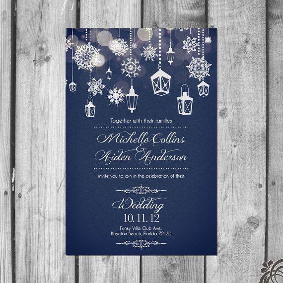 Lanterns + snowflakes wedding invitation