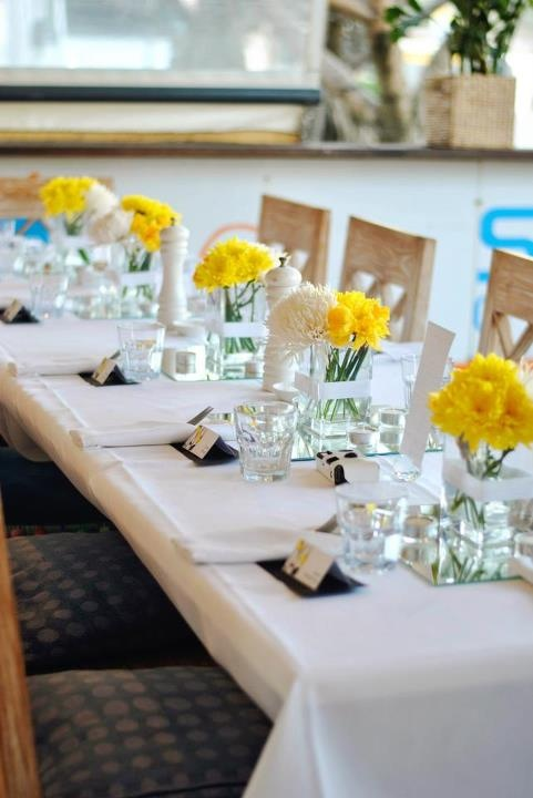 Yellow And White Table Setting Nice And Clean Diamond