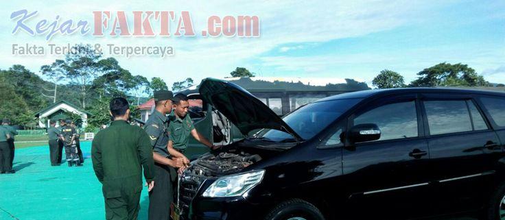 Tim Asisten Teknik (Asnik) Denpal B 02-12-03 Bandar Lampung, melakukan kegiatan pemeriksaan dan pengecekkan kendaraan dinas di Makodim...