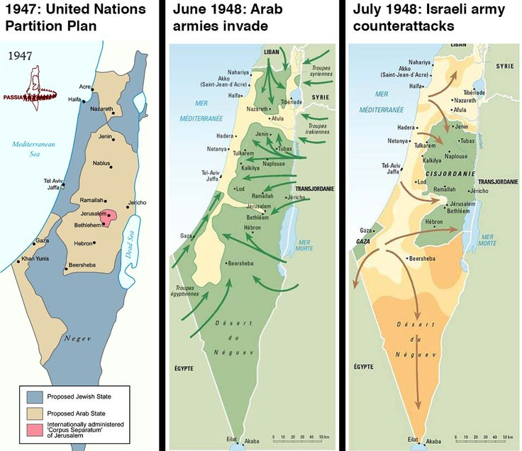 Israel's 1947 founding and the 1948 Israeli-Arab War These three maps show how Israel went from not existing to, in 1947 and 1948, establish...