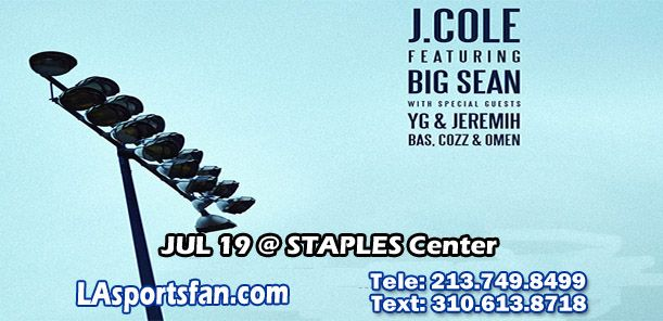 J. COLE, BIG SEAN, YG, & JEREMIH at STAPLES Center, Sunday JUL 19, 7:00PM #tickets #J.Cole #BigSean #YG #Jeremih #STAPLESCenter