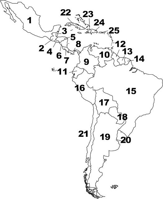 blank central and south america map