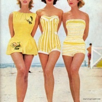 Vintage bathing suits.  Vogue magazine ad for Coles Swimwear 1950's.  Love the swimdress on the left!